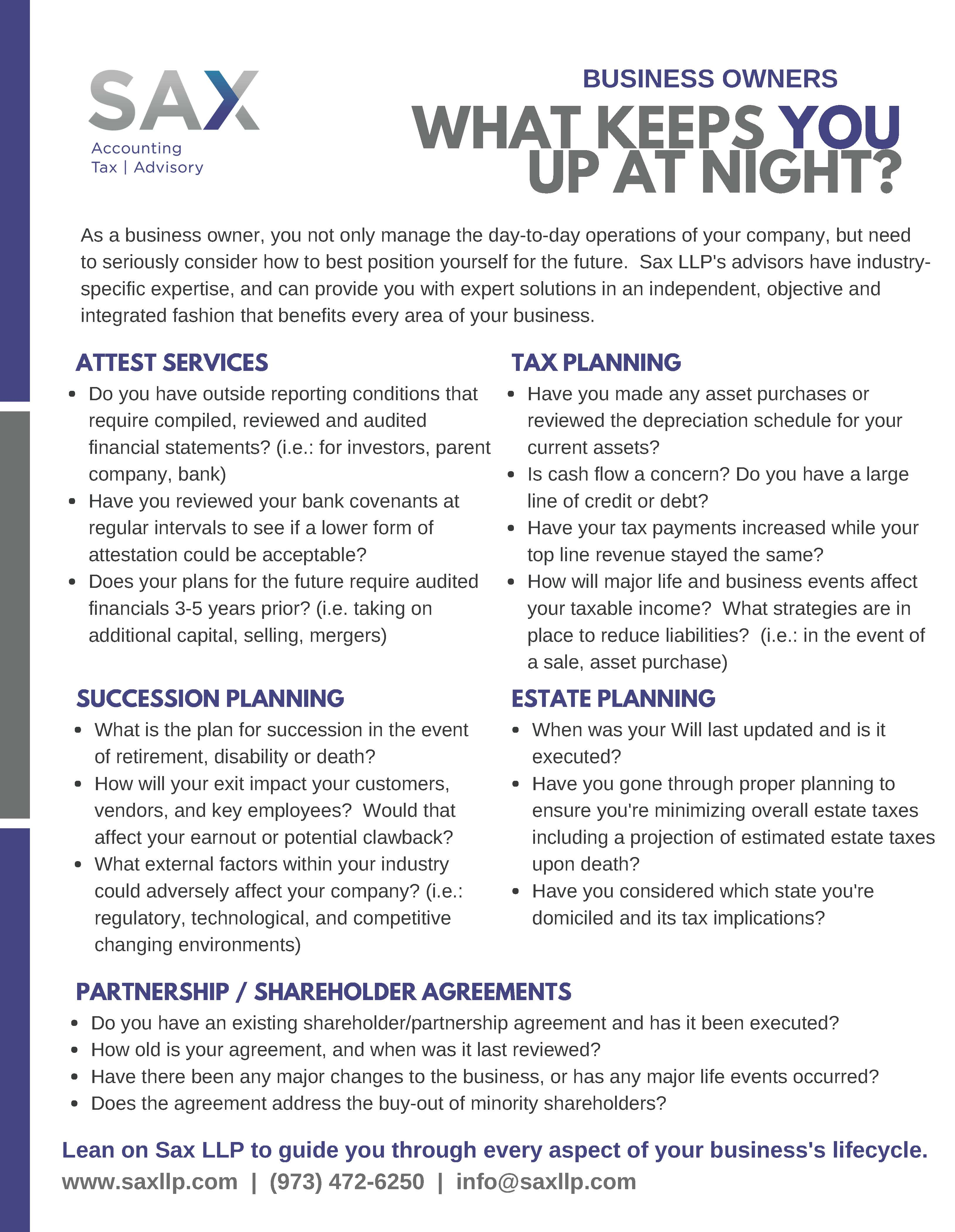 What Keeps Business Owners Up At Night Sax