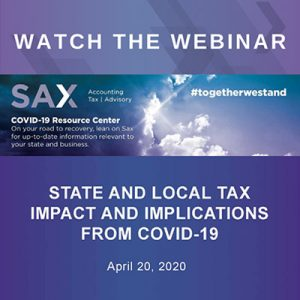 State and Local Tax impact and Implications From COVID-19